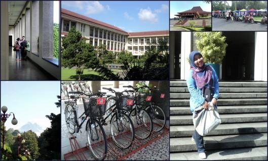 Kampus UGM pagi itu: photo pre-wedding, Merapi dari kejauhan, sepeda-sepeda,, Sunmor, dan pose iseng ku hehehe :D